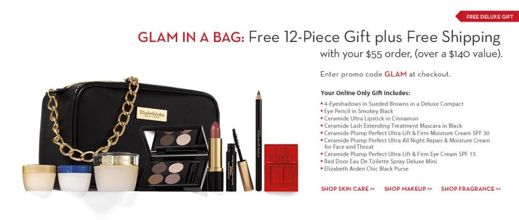 Free Elizabeth Arden set with purchase!  code: GLAM