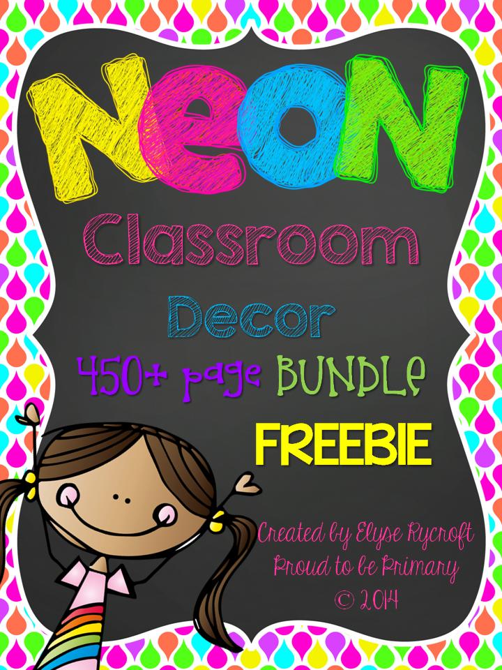 Neon Classroom Decor ~ Neon and chalkboard classroom decor freebie behavior