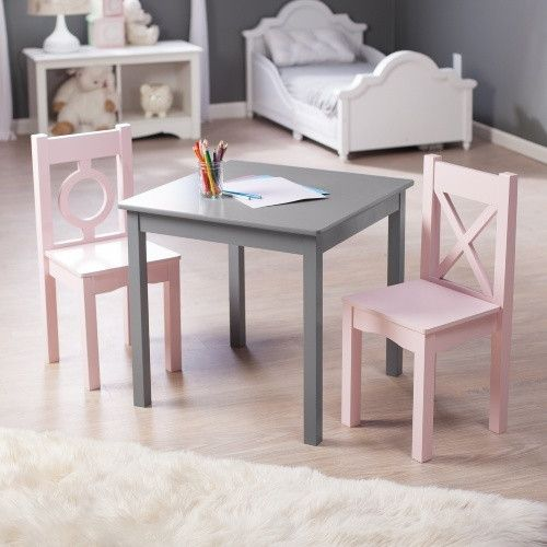 Lipper Hugs And Kisses Table 2 Chair Set Gray Pink