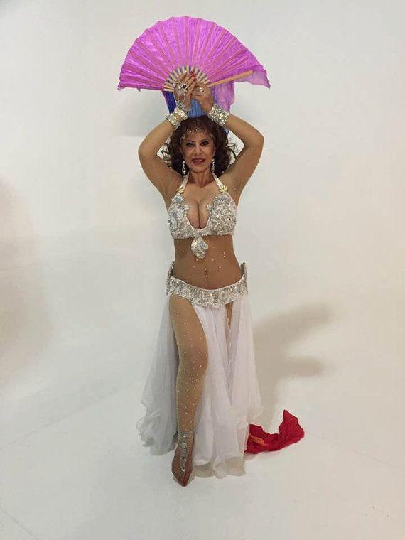 Egyptian Belly Dance Costume bra /& Belt Set Professional Dancing White Sllver