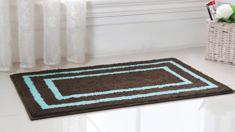 Amazon Com 2pc Luxury Microfiber Bath Rug Set Brown Blue