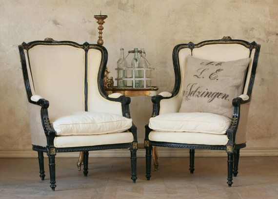 Modestly ornate wingback chairs. Beautiful hand-carved and painted details! - Modestly Ornate Wingback Chairs. Beautiful Hand-carved And Painted