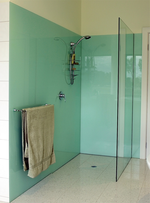 Coloured glass panels for bathrooms