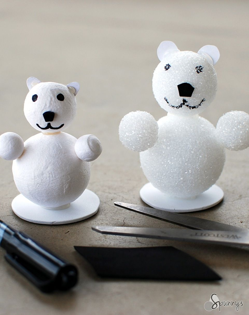 Easy polar bear craft project idea source article craft for Crafts with styrofoam balls for kids