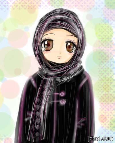 صور بنات انمي محجبات اجمل لفات حجاب بنوتات انمي منتدى جدايل Hijab Drawing Anime Illustration Art Girl
