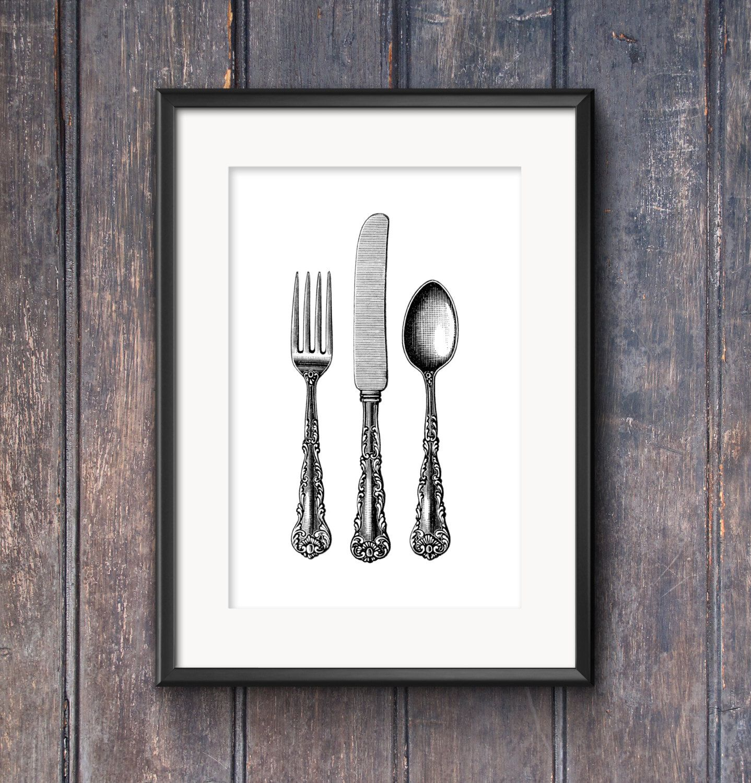Framed Prints For Kitchens Copper Kitchen Sink Faucet Printable Art Vintage Silverware Engraving Decor Antique Knife Fork Spoon Wall L Utensil