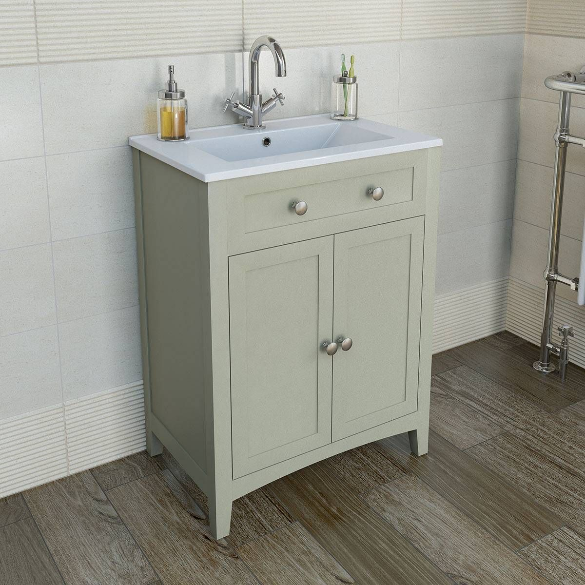 Bathroom sinks with options for everyone - A Traditional Sage Basin Storage Unit Completes The Traditional Style Bathroom
