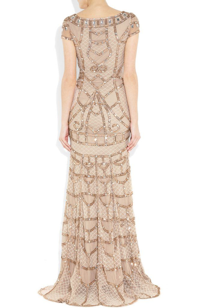 Exquisitely embellished Temperley London Poison gown. This dress features beads, sequins, and diamantes - the perfect dress to make a grand entrance. The scoop neck, cap sleeves & pale pink tulle work together to create a modern Gatsby-esque look. Dress is brand new with tags. UK Label Size 6/US 2. [Section]