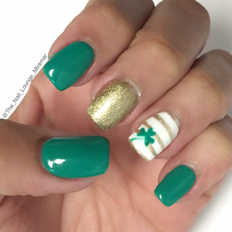 St Patricks Day Clover Nail Art Design Nail Art Pinterest