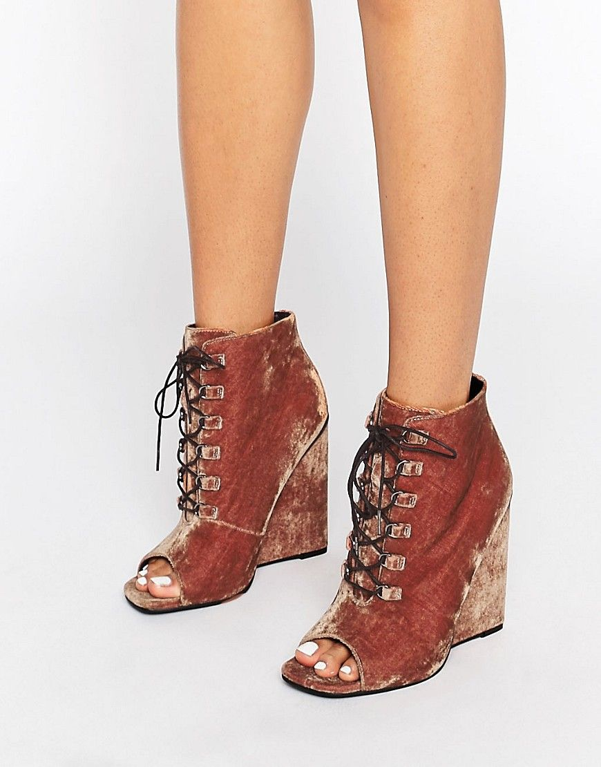 80e8903095d9 Image 1 of ASOS ELIS Lace Up Wedge Boots
