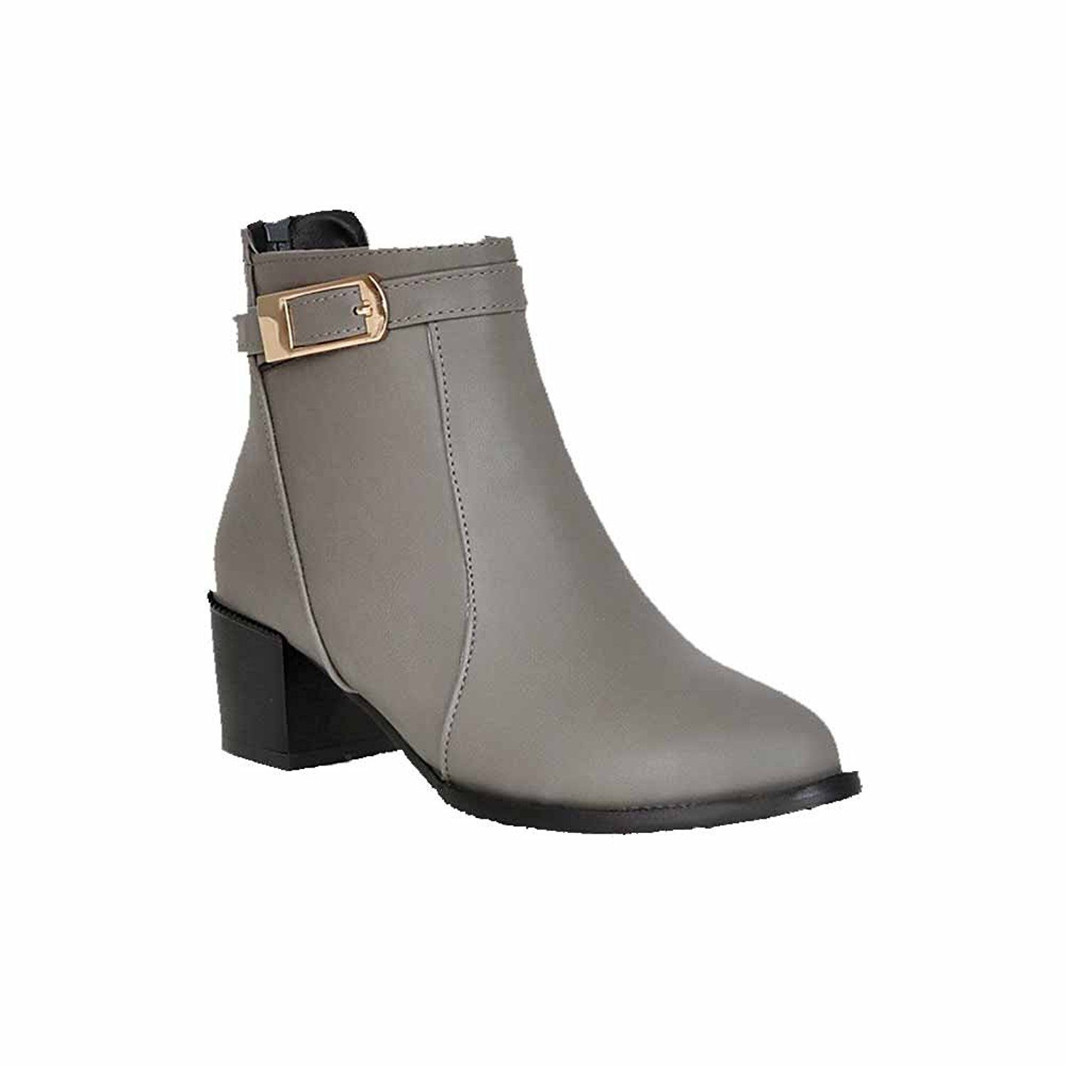 Women's Round Closed Toe Low-Heels Soft Leather Low-Top Solid Boots