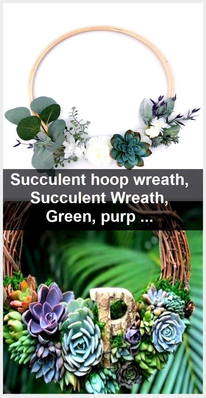 Photo of Succulent hoop wreath, Succulent Wreath, Green, purple and white spring wreath, Minimal hoop …