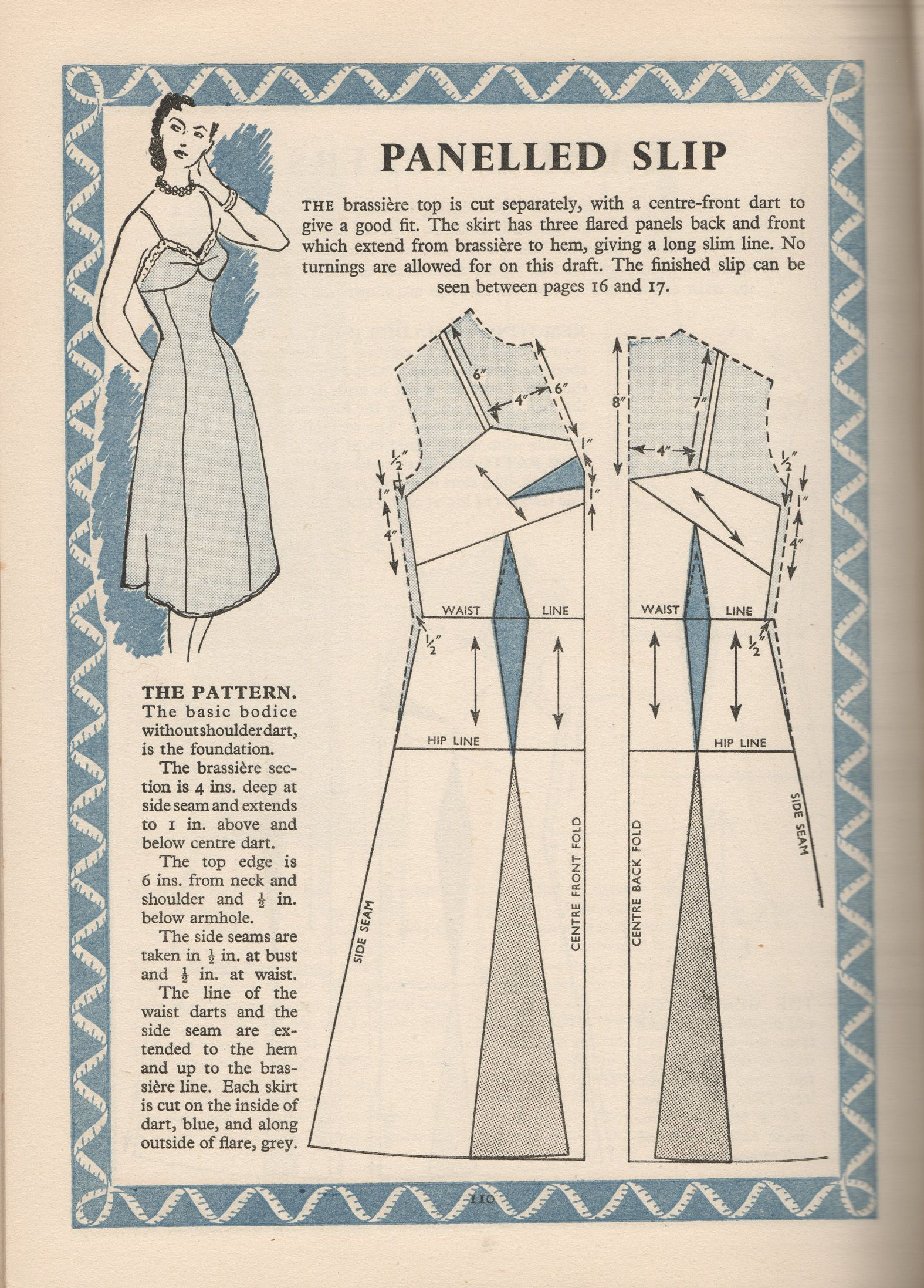 Panelled Slip Draft Pattern from Complete Dressmaking in pictures ...