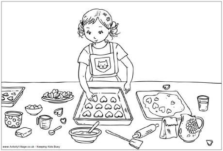 Valentine Cooking Girl Coloring Page Partay Valentines Day