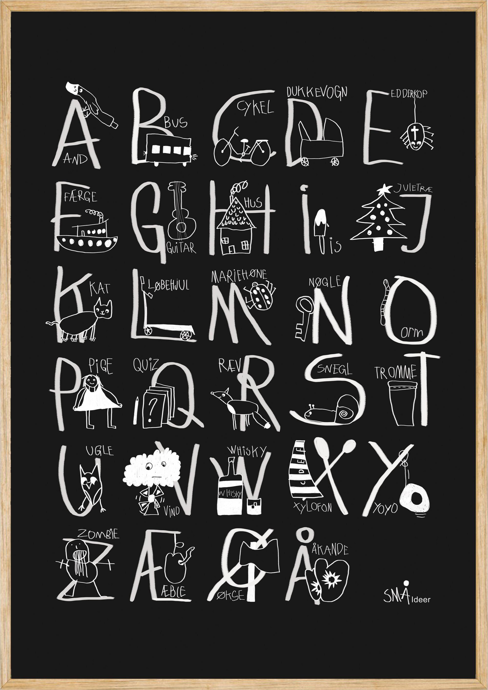 Små ideer - A-B-C plakat str A2 (420 x 594 mm)