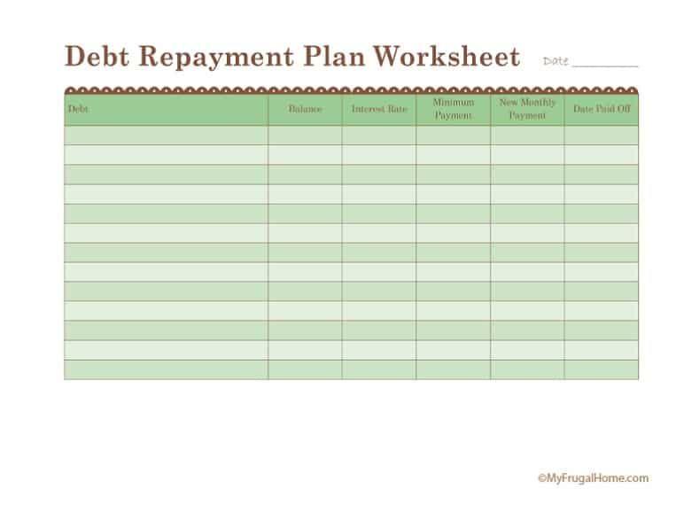 Printable Debt Repayment Plan Worksheet Debt Repayment Repayment Debt Plan