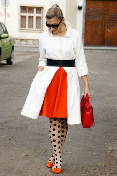 Ivory with orange/poppy red