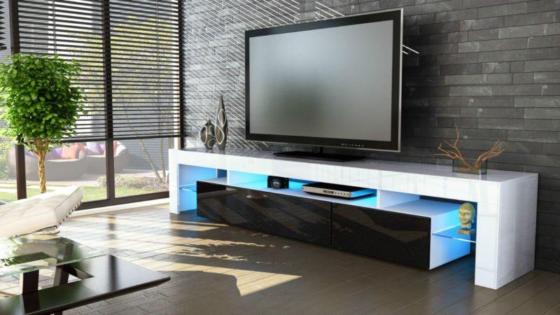 Dettagli su Mobile tavolo porta TV moderno laccato lucido salotto ...