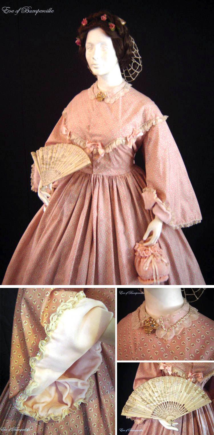 Circa 1860s One Piece Pink Cotton Dress Embroidered Organdy Lace Trims Bodice And Sheer Silk Collar Collar Also Has P Mode Historique Costume Historique Mode [ 1526 x 750 Pixel ]
