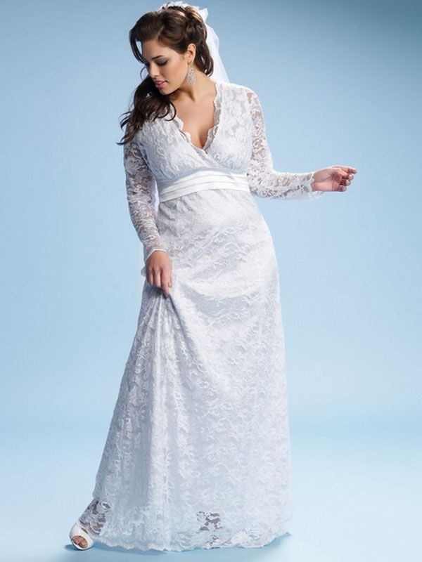 long sleeved plus size wedding dresses