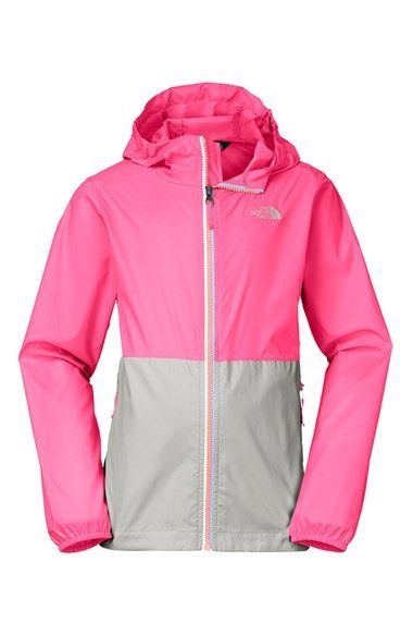 f9960aaa1 The North Face 'Flurry' Colorblock Hooded Wind Jacket (Little Girls & Big  Girls)