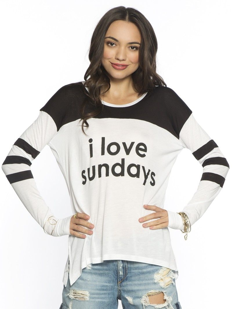 I Love Sundays White Tomboy L S Fashion Shirt Clothes Pinterest Peace Love World