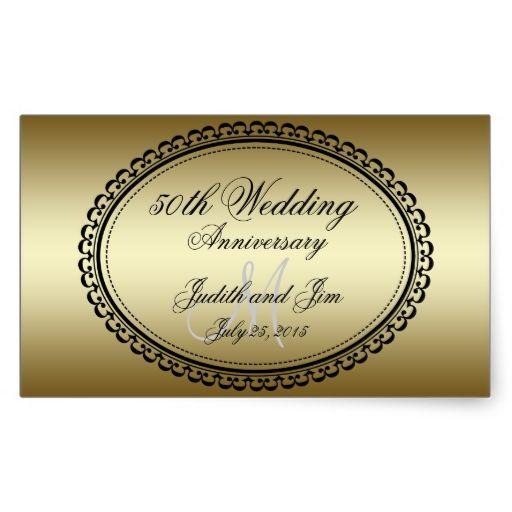 Gold 50th Wedding Anniversary Rectangular Sticker Zazzle Com 50th Wedding Anniversary Gold Wedding Invitations Design 50th Wedding