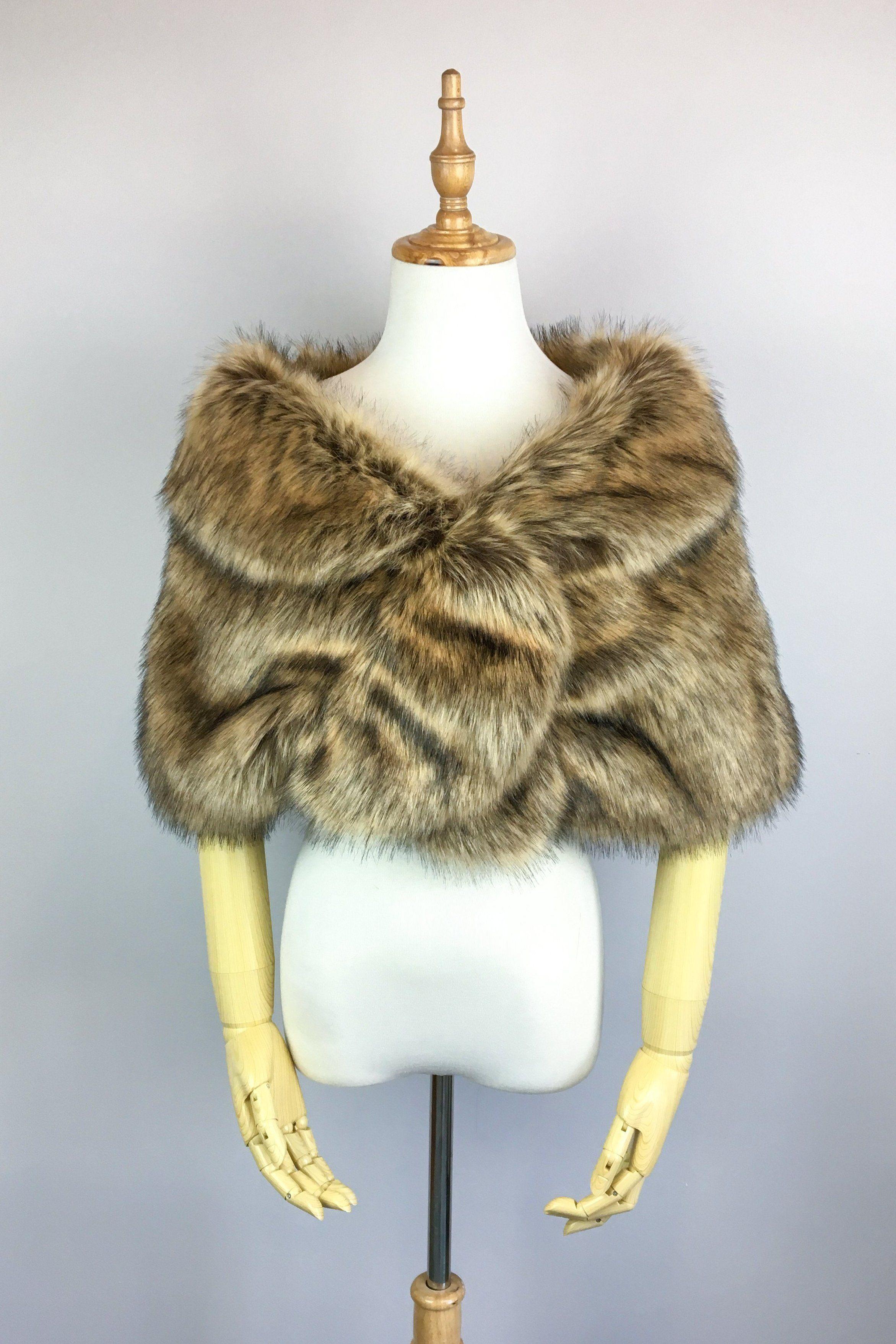 Brown fur wrap blair brw03 bridal fur wrap faux fur
