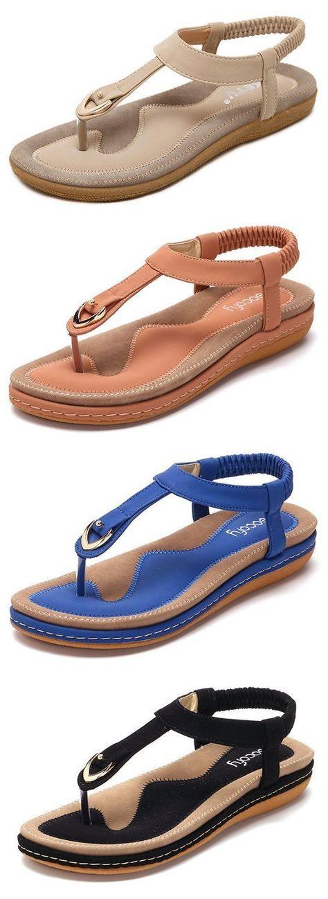3de7b57075a6 SOCOFY Comfortable Shoes Elastic Clip Toe Flat Beach Sandals US Size 5-13  sandal
