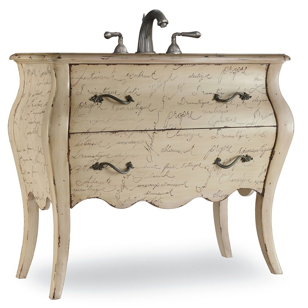 Cole & Co. combines unlimited design with excessive flexibility, permitting you to mix and match size, finish, and style to make your own unique bathroom vanity. The Romantique Vanity is sure to deliver an inspiring adjective to describe your style. This Bombé chest, http://www.listvanities.com/vintage-bathroom-vanities.html made of hardwood solids and veneers, is adorned with beautiful French script. Bronze hardware adorns the drawers. One drawer is available for storage.
