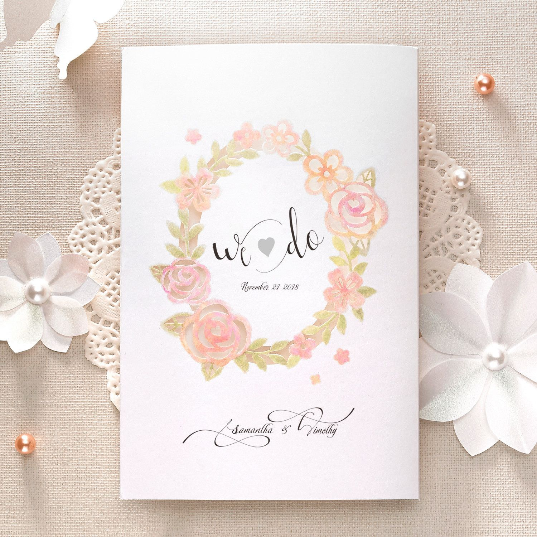 Laser Cut Peach and Coral Rose Wrap Wedding Invitations Card - CH ...