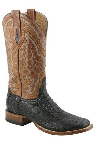 Lucchese Mens Black Hornback Caiman Crocodile Boots Boots Boots