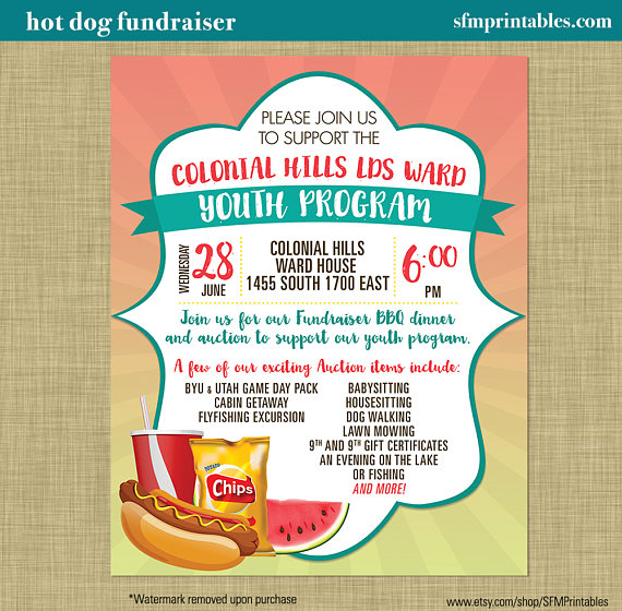 Hot Dog Fundraiser Dinner Bbq Invitation Poster Spring
