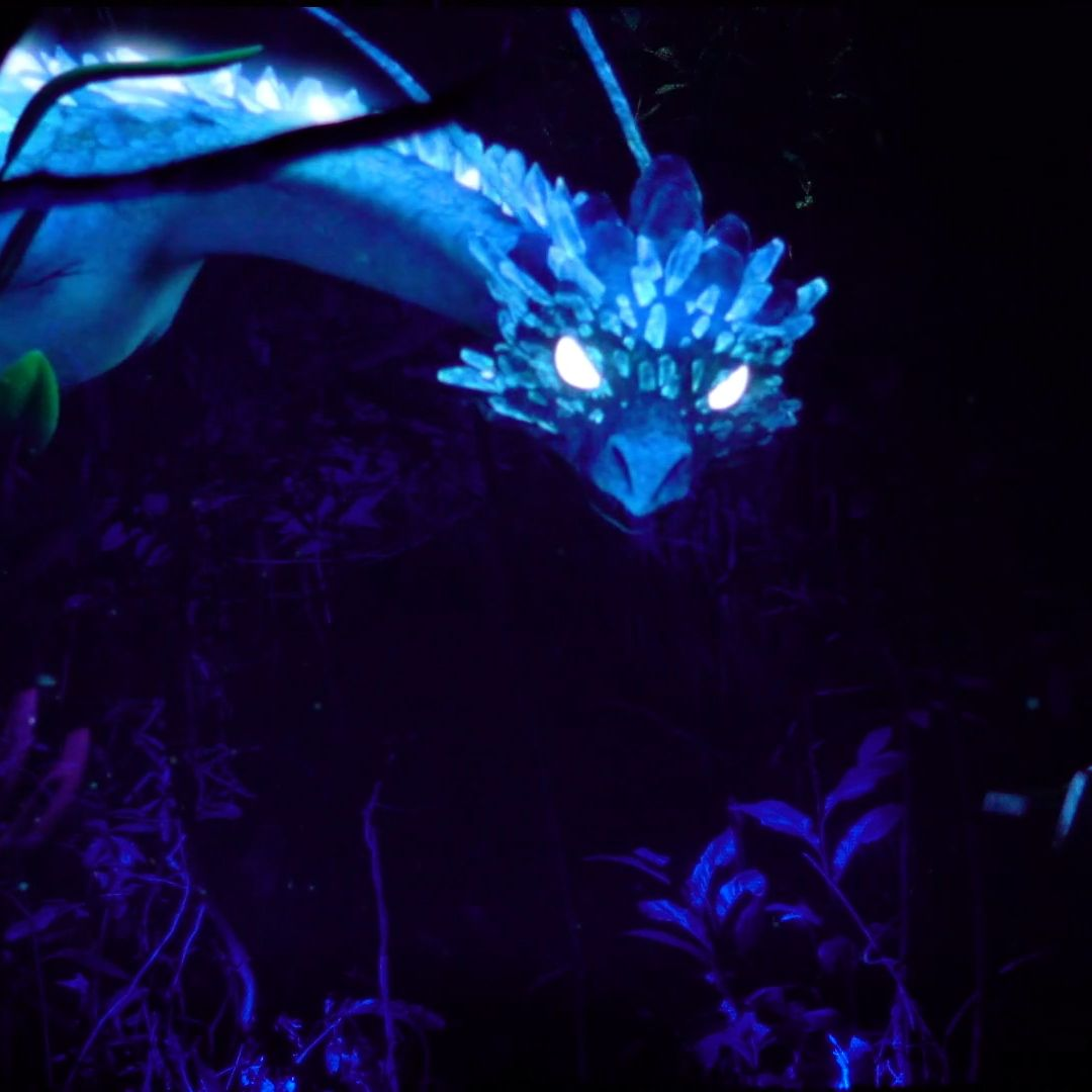 TeamLab's immersive digital exhibition at Lumina Forest creates a magical fantasy landscape complete with a dragon and anime aesthetic that transports visitors to a whole other world.