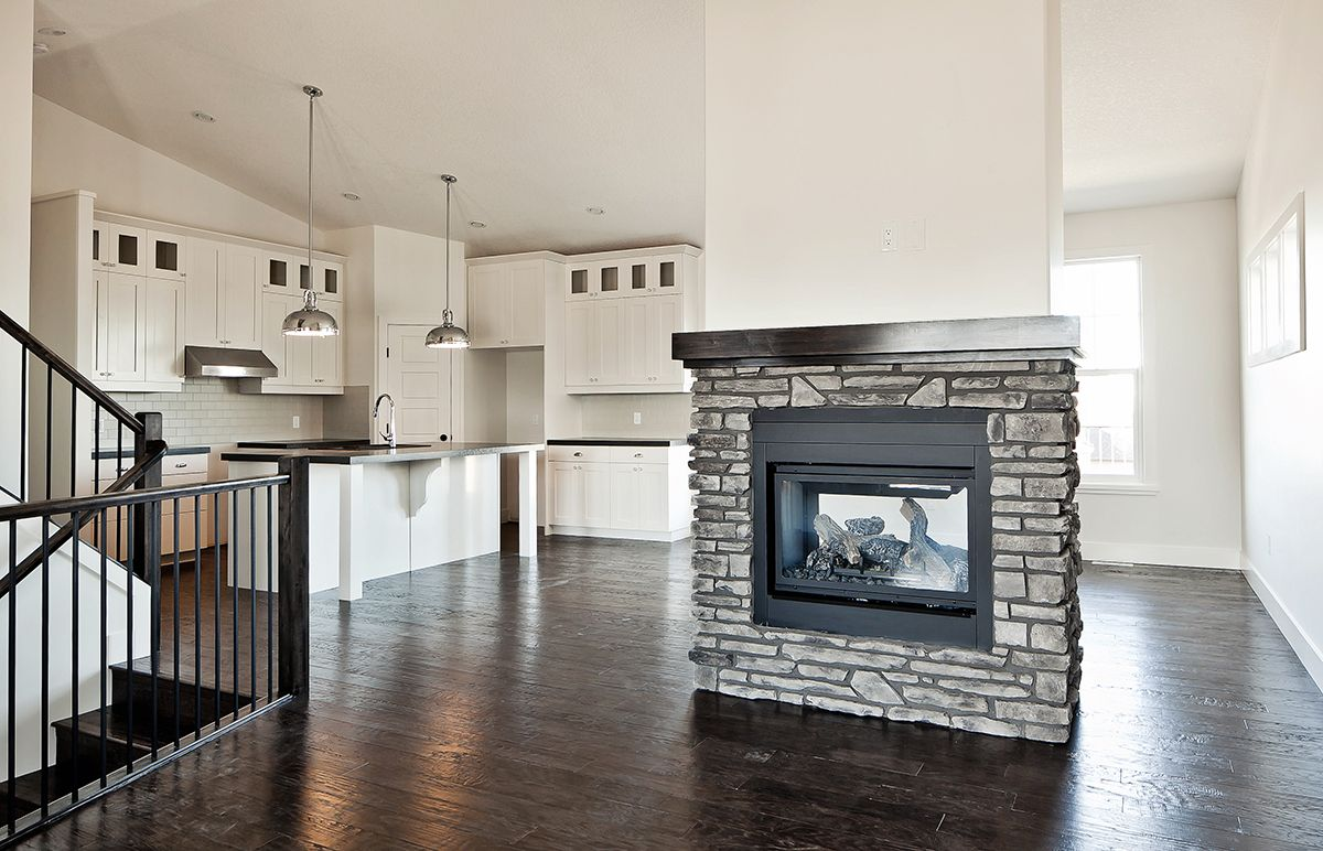 floor plan layout double sided fireplace. Black Bedroom Furniture Sets. Home Design Ideas