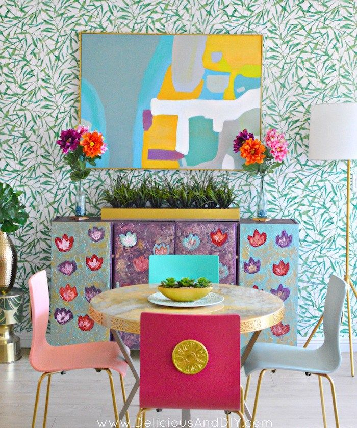 Bright and Bold Dining Room Makeover - Delicious And DIY