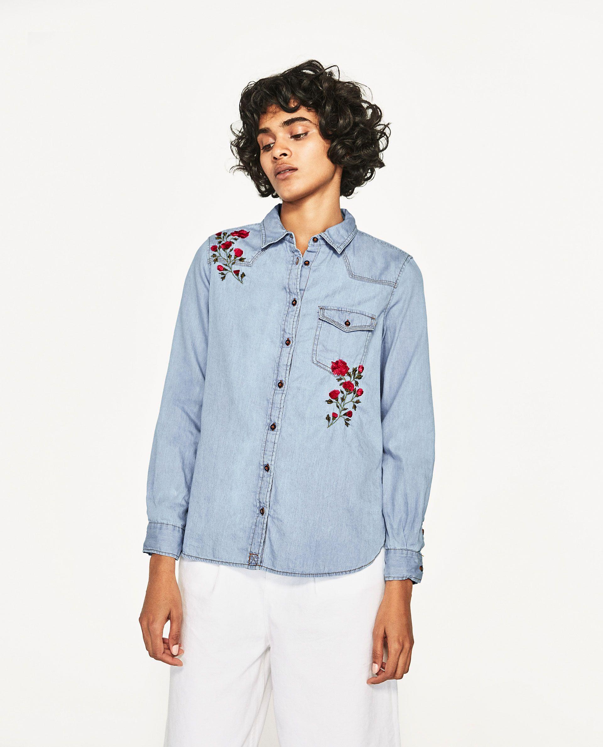 d41b0575 ZARA FLORAL EMBROIDERY DENIM SHIRT | BORDADO | Shirt embroidery ...