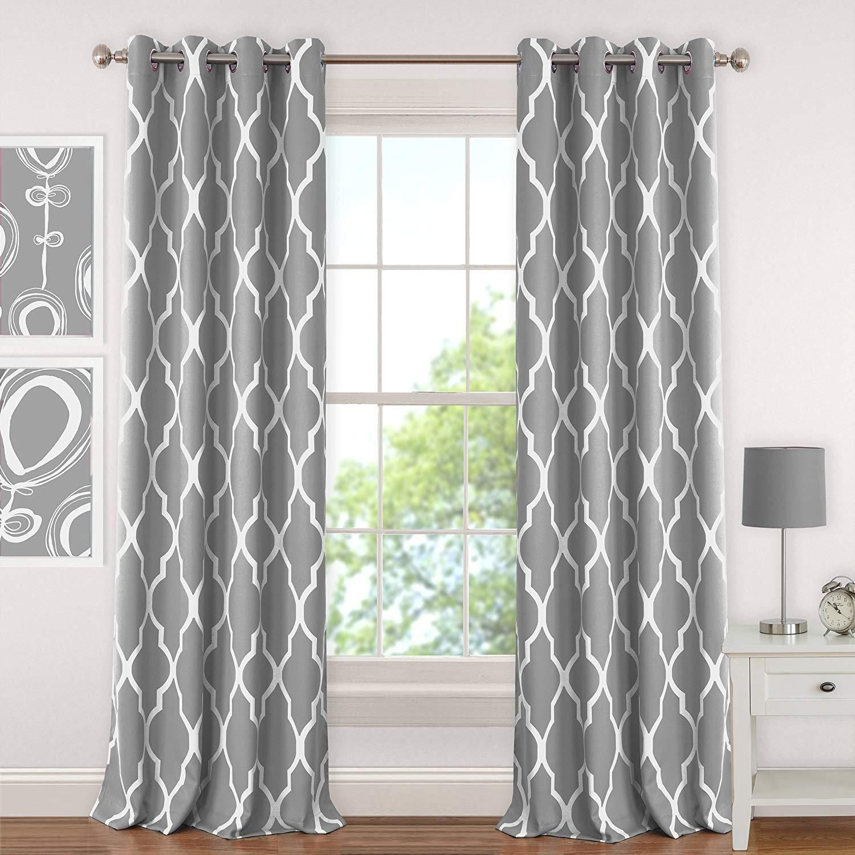 Tl 1 Piece Grey Trellis Window Curtain 95 Inch White Ikat
