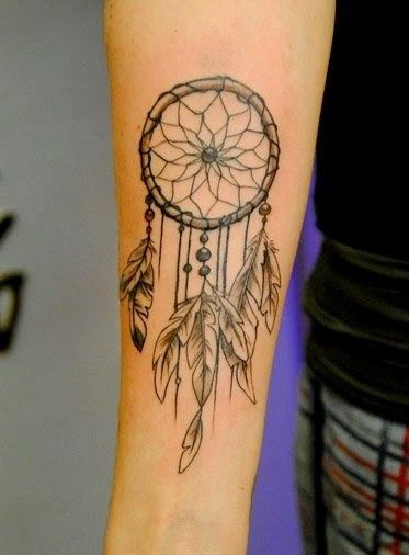 Grey And Black Dreamcatcher Tattoo On Right Forearm Tats Classy Dream Catcher Tattoo On Forearm