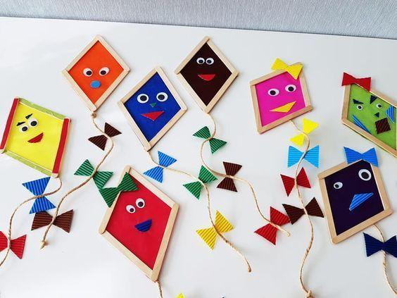 Kites tinker with children: window decorations from ice cream sticks in autumn