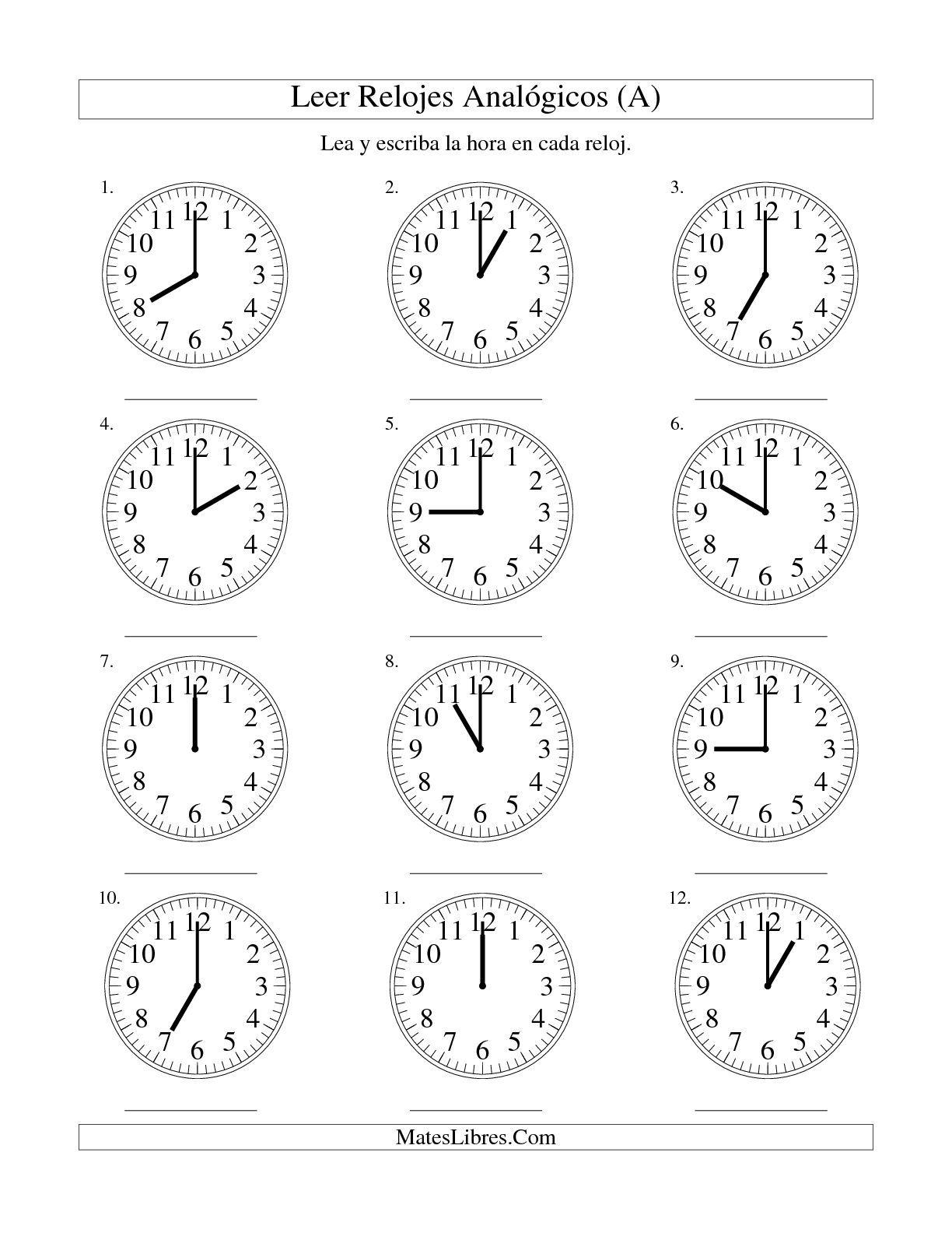La Hoja De Ejercicios De Leer La Hora En Un Relojogico En Intervalos De Una Hora A De La