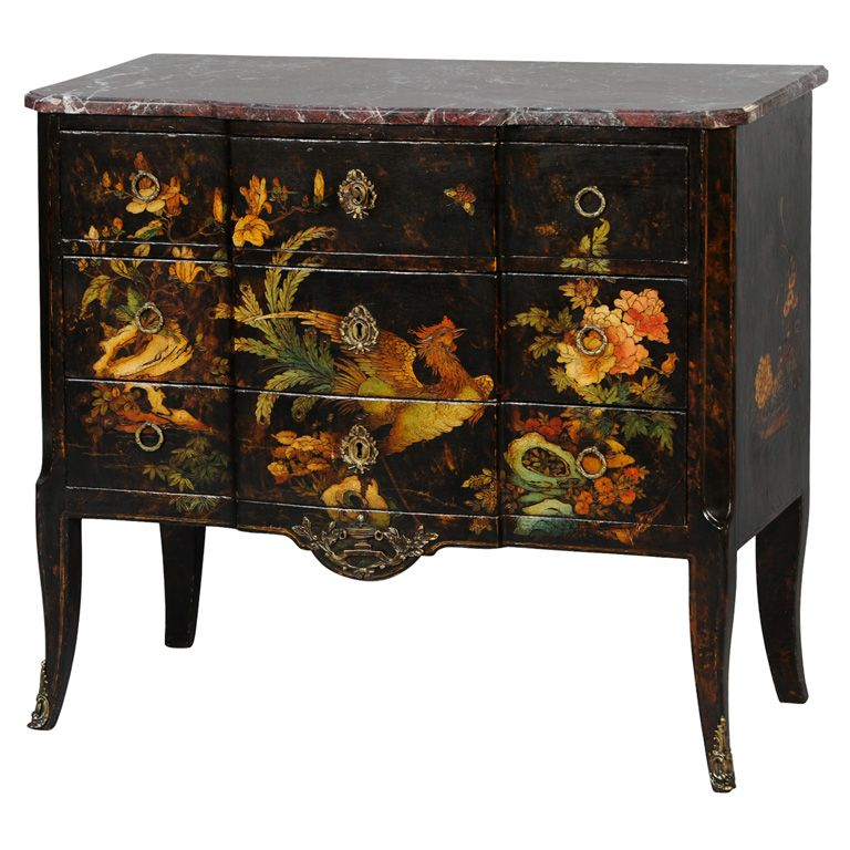 19c. French Japanned Commode with Marble Top | 1stdibs.com