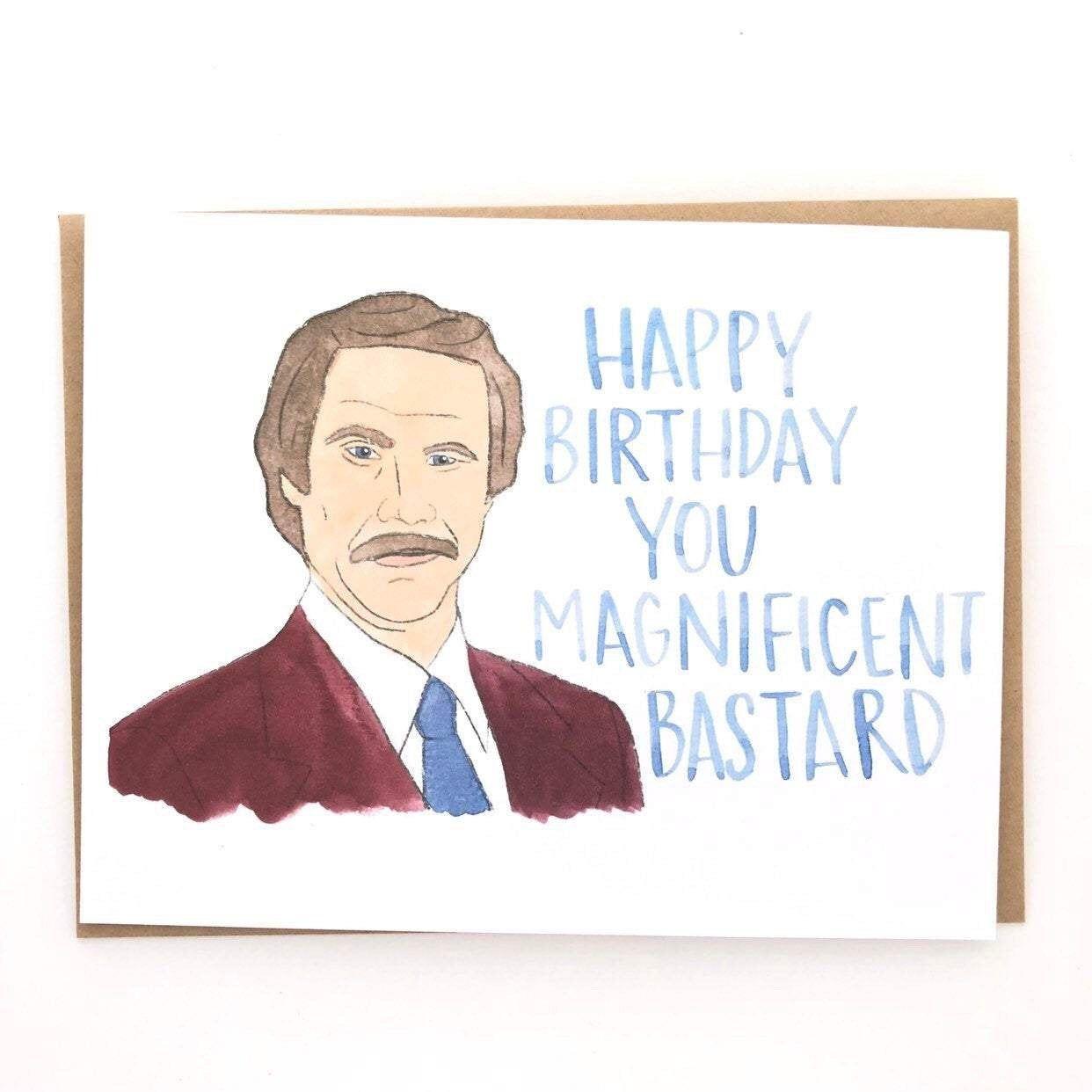 ron burgundy birthday card  etsy  ron burgundy birthday