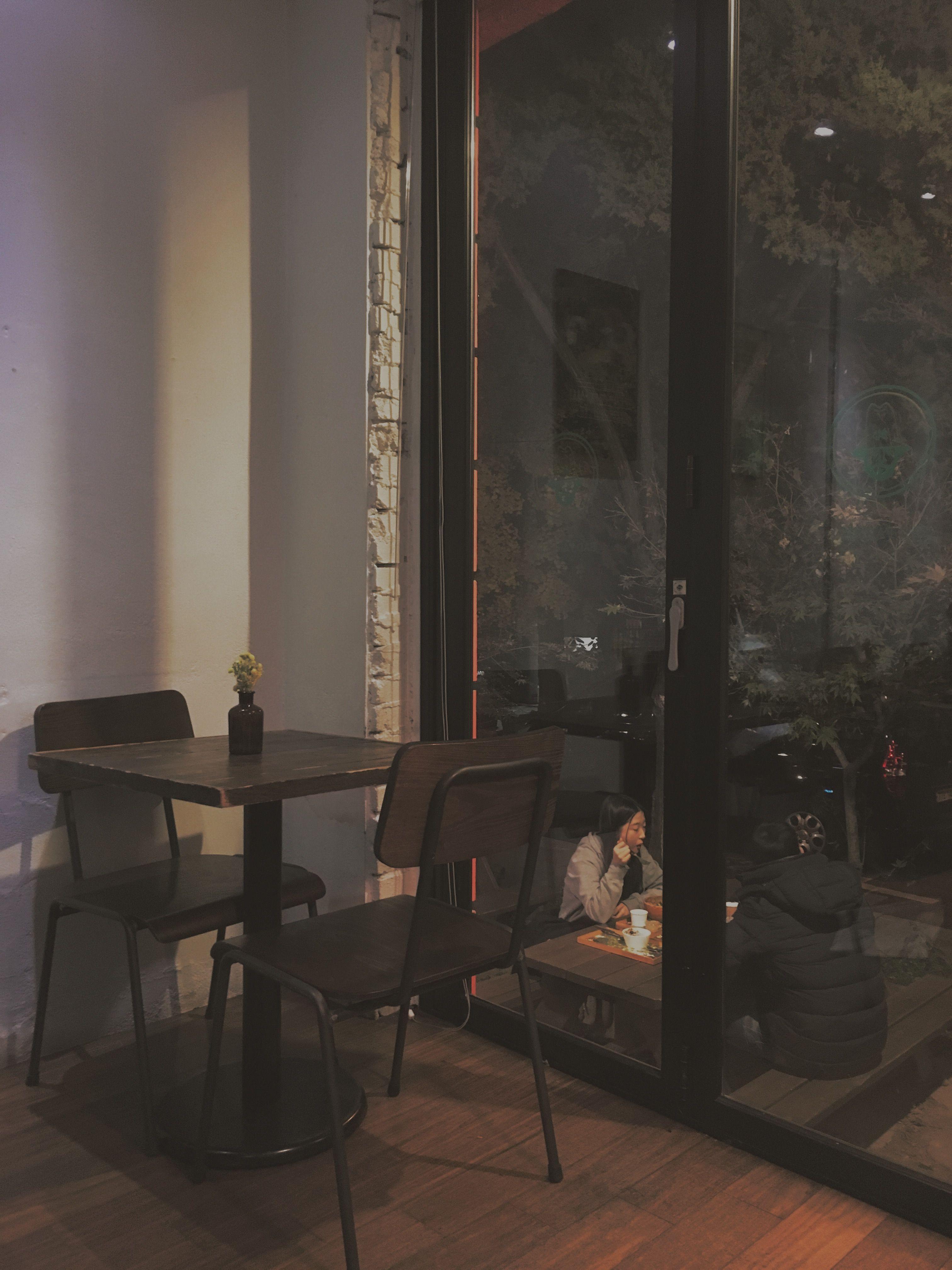 Seoul Korea Aestethic Street City Night Caffe Restaurantdesign Wallpaper Ponsel Ilustrasi Tempat