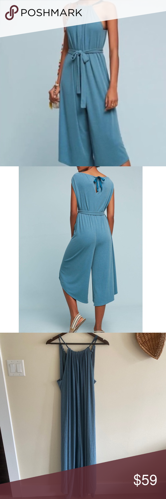 Anthropologie Jacenta Wide-leg Jumpsuit HD in Paris by Anthropolgie. Blue ribbed playsuit / jumpsuit. Super comfy, soft material. Wide leg. Ribbon tie closures. Regularly $118. 76% modal 24% polyester Very flowy and loose fitting. Anthropologie Pants Jumpsuits & Rompers #jumpsuitromper