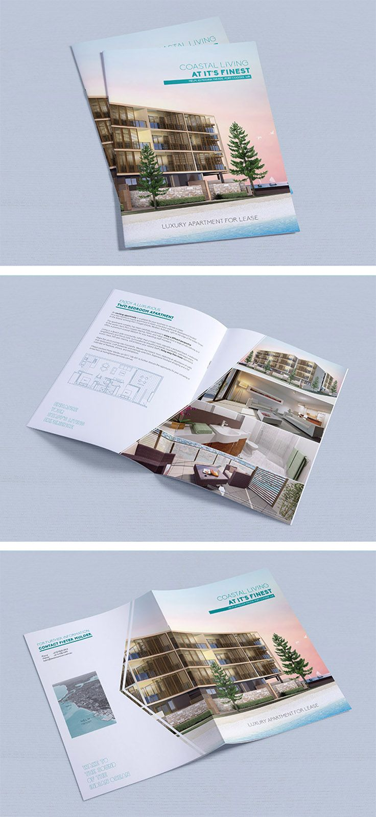 real estate brochure design inspiration - real estate brochure flyer bifold a3 fold a4 geometric