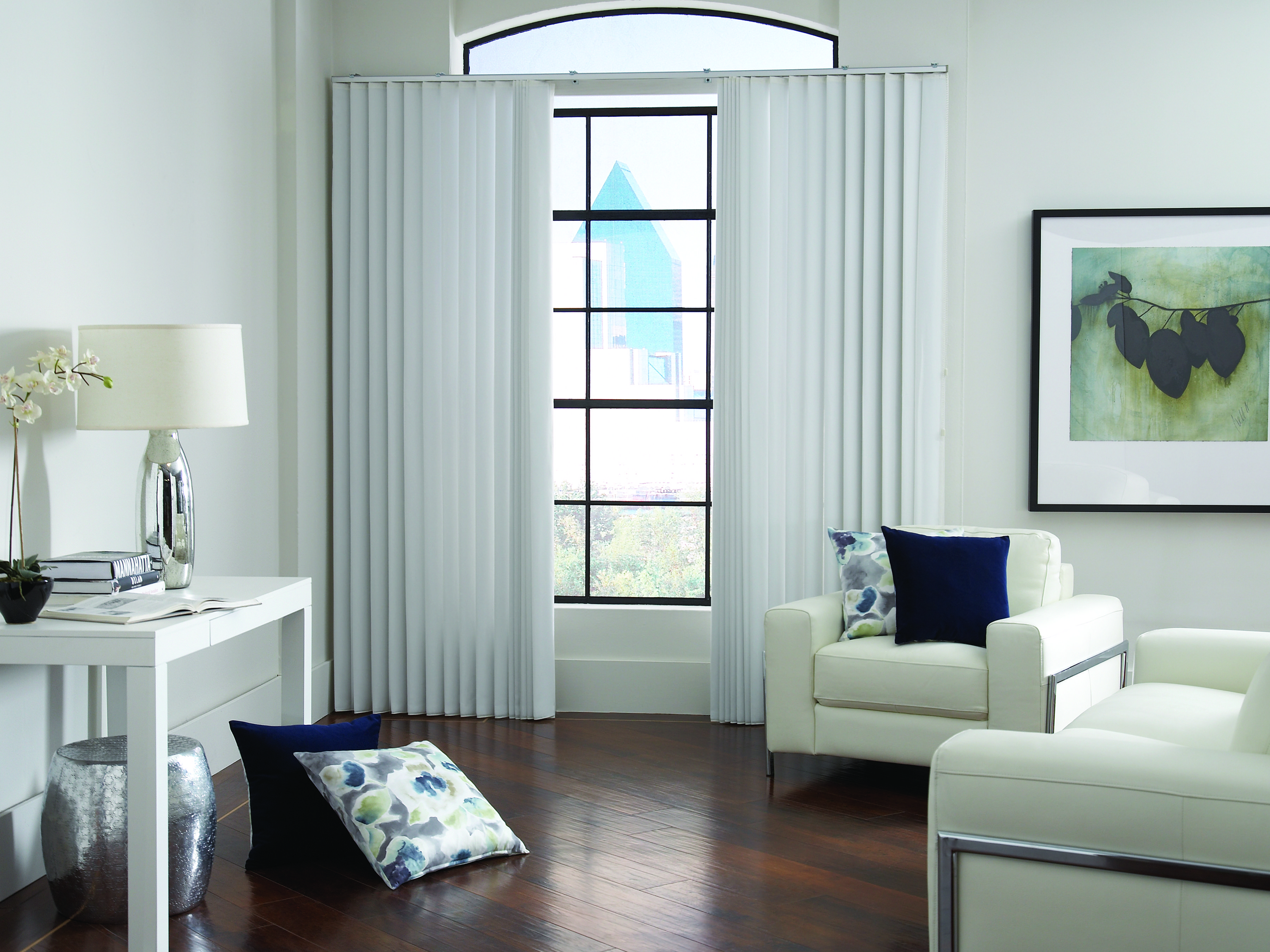 Vertical Blinds In A Modern Living Room Contemporary Window Treatments Vertical Blinds Window Treatments Living Room