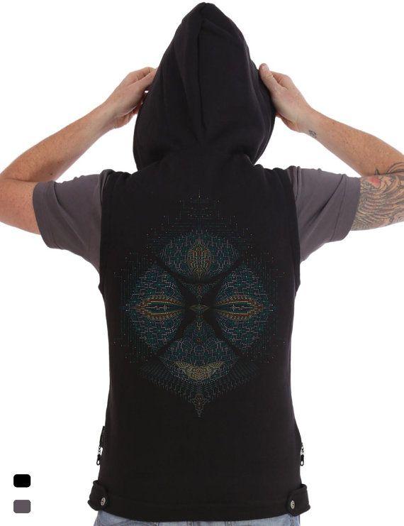 Hooded Vest Zip up Jacket, Mens Hood vest, Psy Festival clothing, Party, Goa, Sacred Geometry, Man Vest