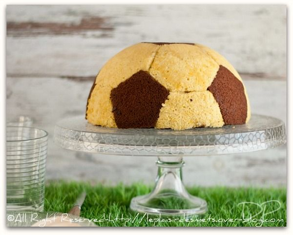 Fabulously fun Soccer Ball Cake with Chocolate Mousse and Vanilla Cream.