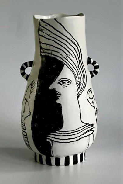 Sally Hook Twin Handled Black And White Vase Ceramic Art